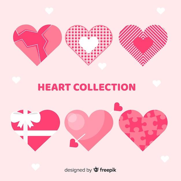 Platte hartcollectie Gratis Vector