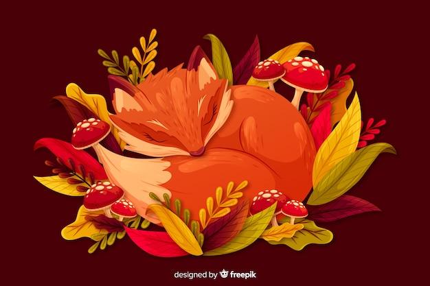 Platte herfst achtergrond met bladeren Gratis Vector
