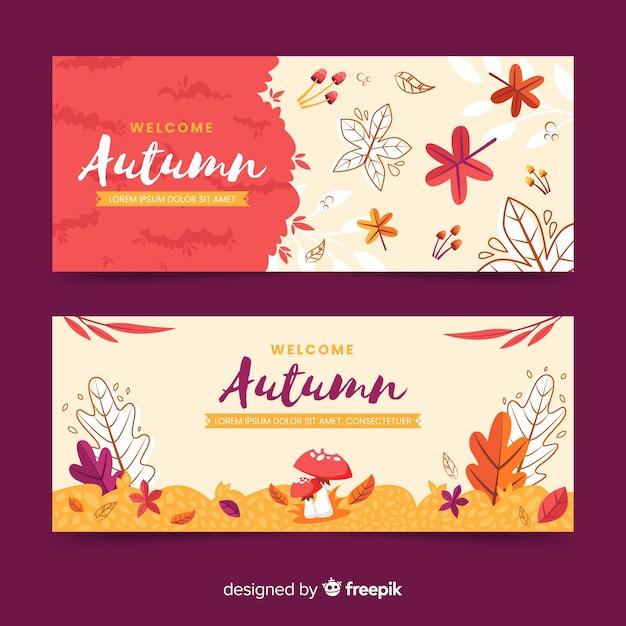 Platte herfst banners ontwerpsjabloon Gratis Vector