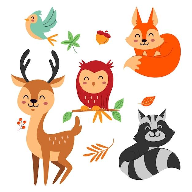 Platte herfst bos dieren ontwerpset Premium Vector