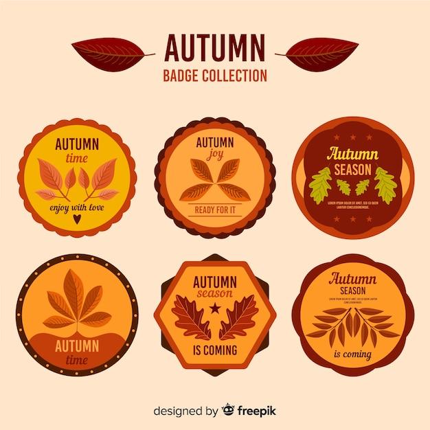 Platte herfst ontwerp badge collectie Gratis Vector
