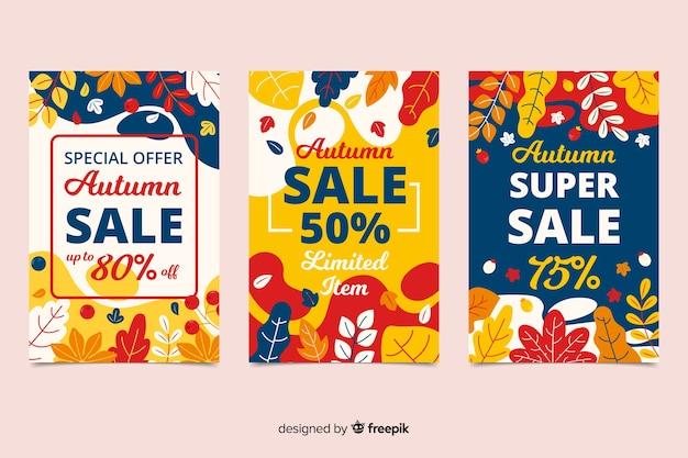 Platte herfst verkoop banners sjabloon Gratis Vector