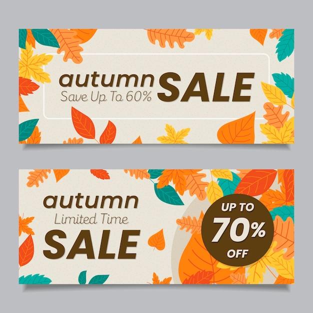 Platte herfst verkoop banners Gratis Vector
