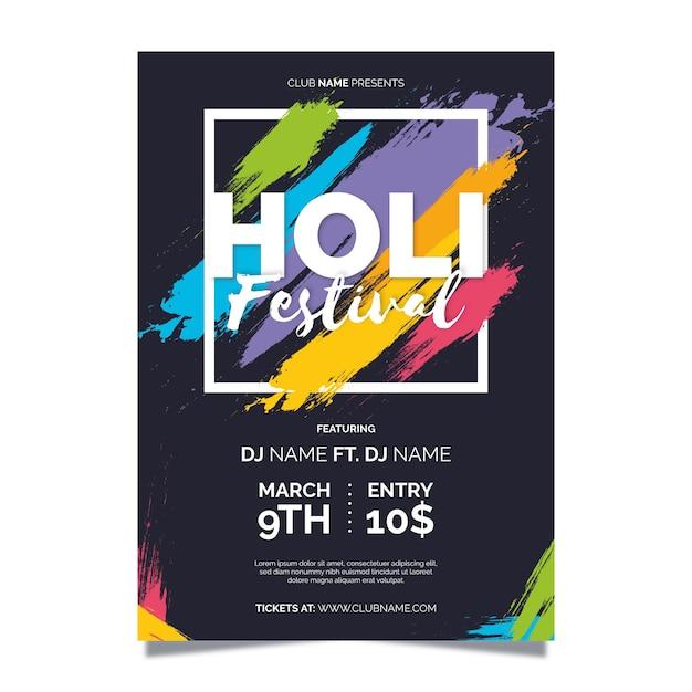 Platte holi festival flyer / festival poster Gratis Vector