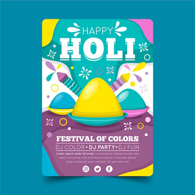 Platte holi festival flyer Gratis Vector