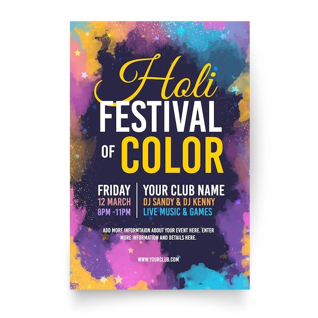 Platte holi festival folder sjabloon Gratis Vector