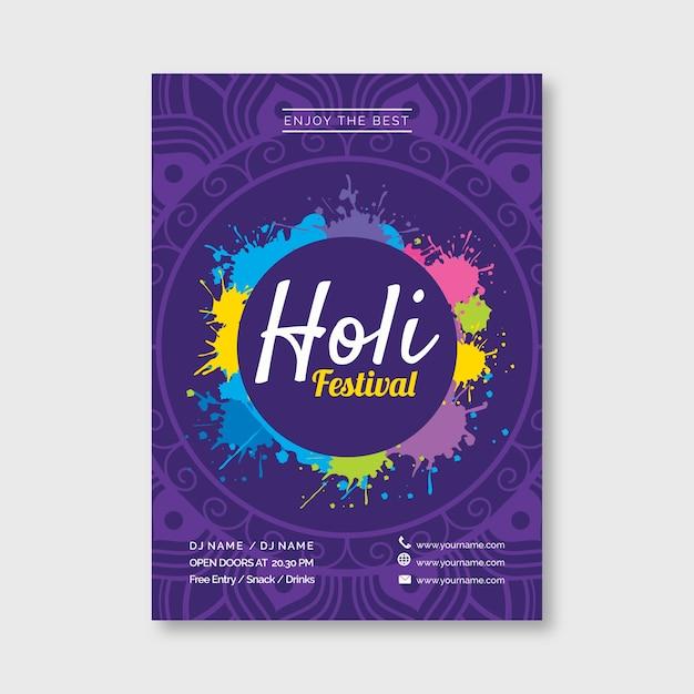 Platte holi festival poster sjabloonontwerp Gratis Vector