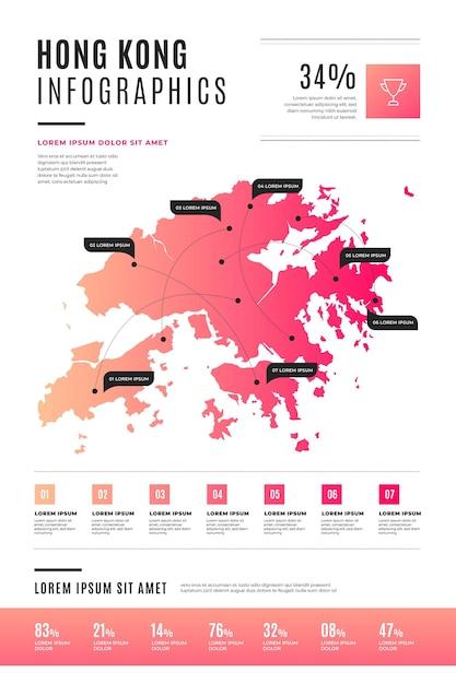 Platte hong kong kaart infographic Gratis Vector