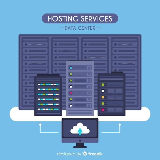 Platte hosting service achtergrond Premium Vector