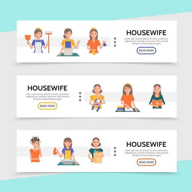 Platte huisvrouw leven horizontale banners met koken, winkelen, strijken, wassen, wassen, make-up procedures Gratis Vector