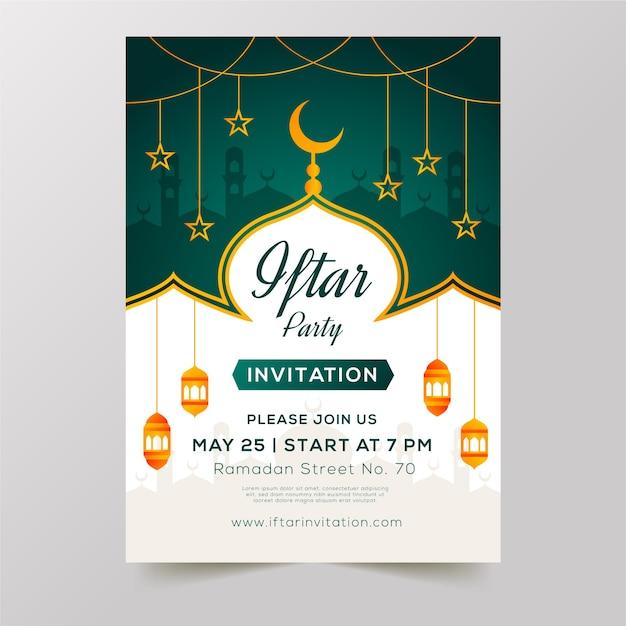 Platte iftar uitnodiging sjabloon ontwerpconcept Gratis Vector