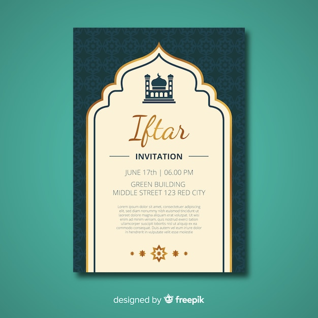 Platte iftar-uitnodiging Gratis Vector
