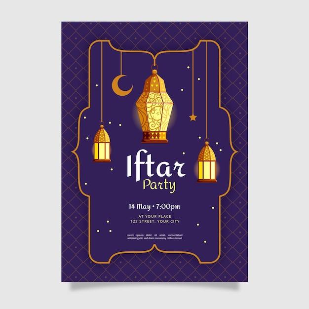 Platte iftar verticale poster sjabloon Gratis Vector