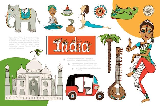 Platte india elementen samenstelling met indiase vrouw meisje doet yoga slangenbezweerder olifant mandala patronen veena tuk tuk kaars taj mahal schoenen Gratis Vector