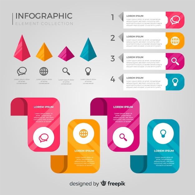 Platte infographic element collectie Gratis Vector