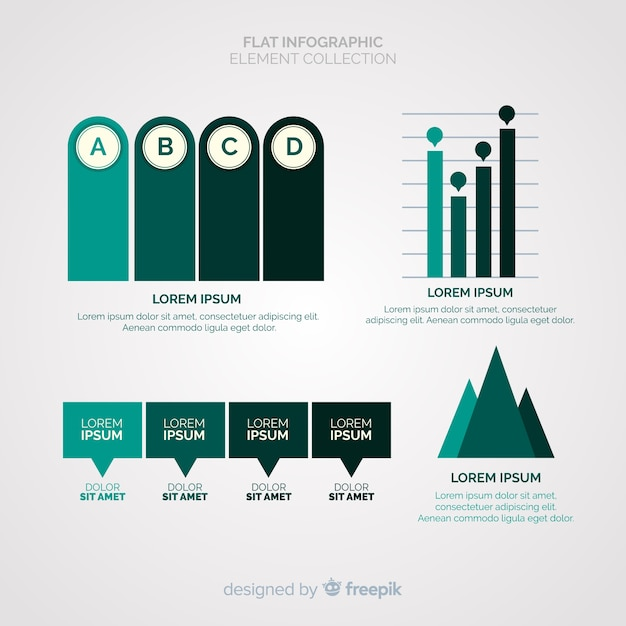 Platte infographic element collectie Gratis Vector