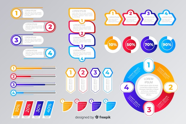 Platte infographic elementen collectie sjabloon Gratis Vector