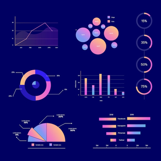 Platte infographic elementen Gratis Vector
