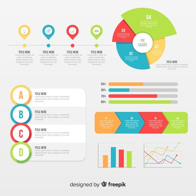 Platte infographic elementenverzameling Premium Vector