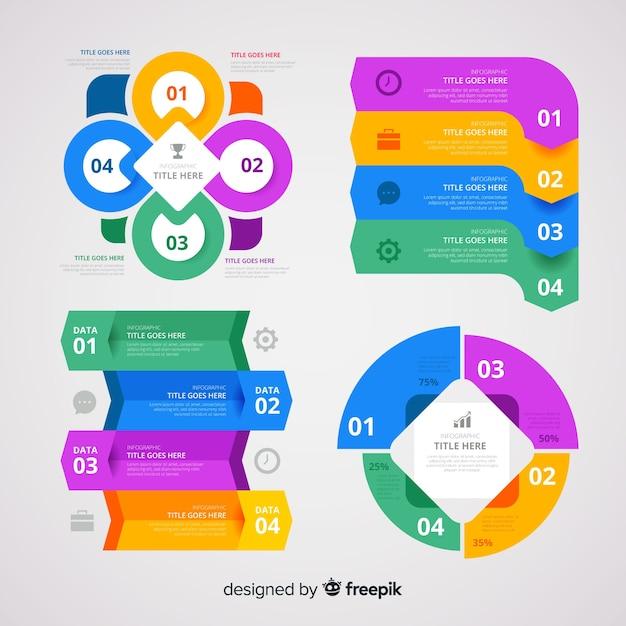 Platte infographic elementenverzameling Gratis Vector