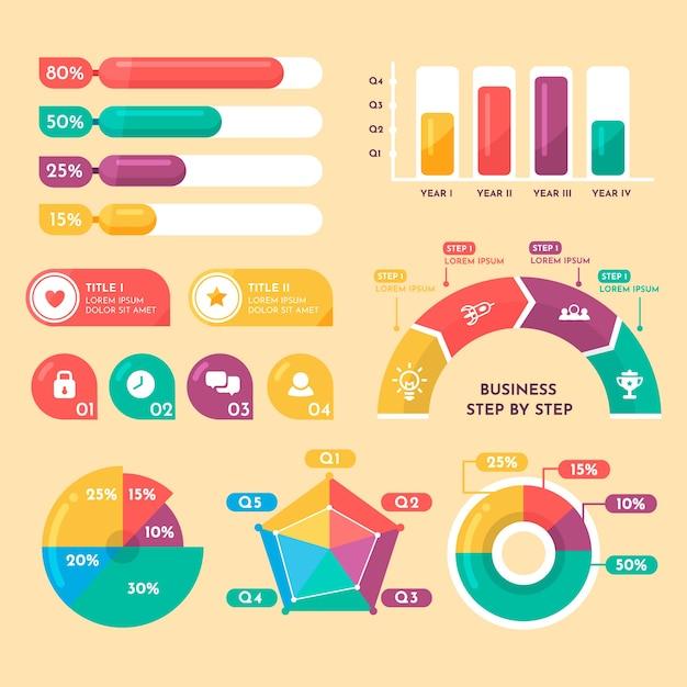 Platte infographic met retro kleuren Gratis Vector