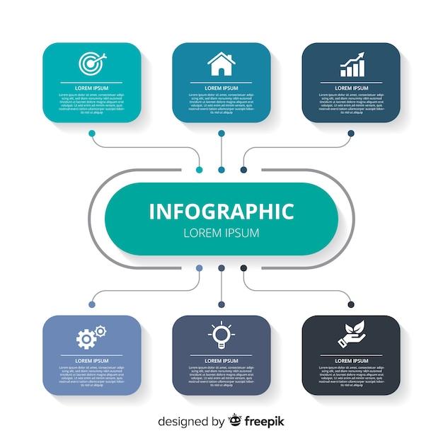 Platte infographic ontwerpsjabloon Gratis Vector