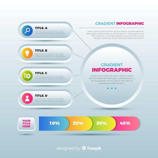 Platte infographic sjabloon achtergrond Gratis Vector