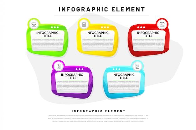 Platte infographic sjabloon voor het bedrijfsleven, website, presentatie met pictogram Premium Vector