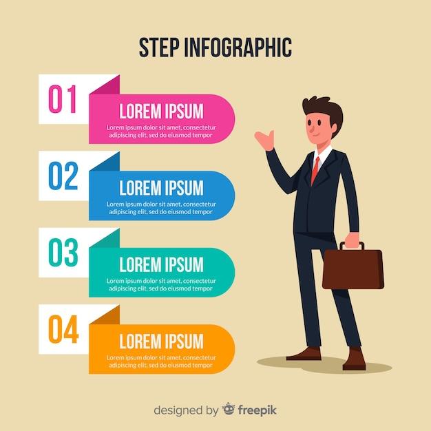 Platte infographic stap Gratis Vector