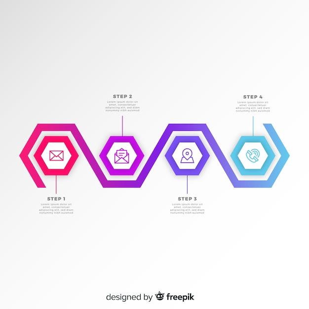 Platte infographic stappen sjabloon gradiënt zeshoeken Gratis Vector