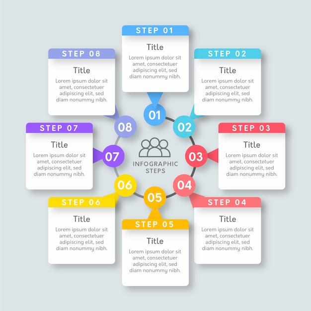 Platte infographic stappen sjabloon Gratis Vector