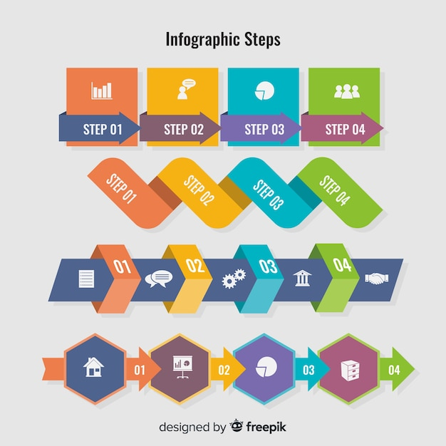Platte infographic stappen Gratis Vector