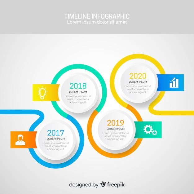 Platte infographics van tijdslijn Gratis Vector