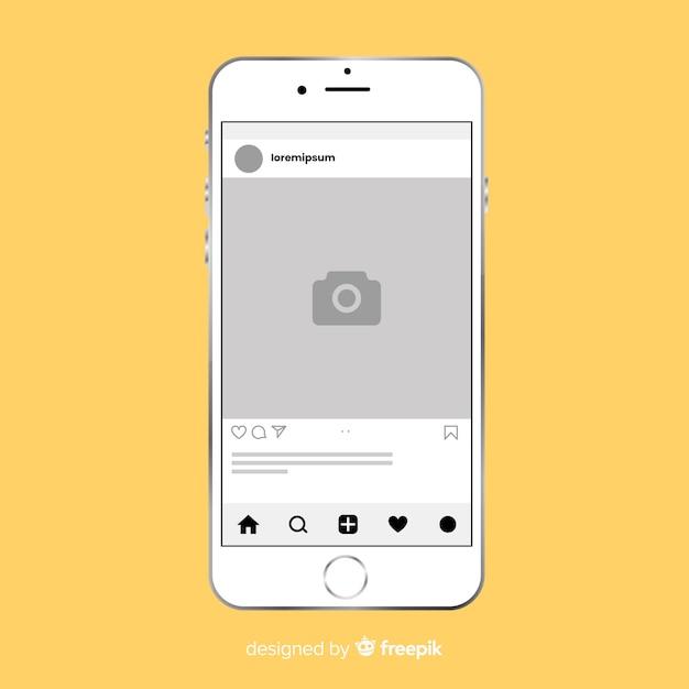 Platte instagram fotolijst Gratis Vector