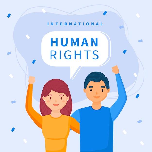 Platte internationale dag van de mensenrechten Gratis Vector