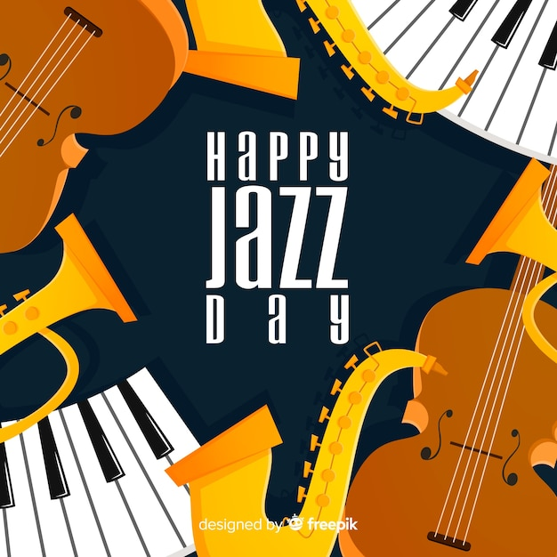 Platte internationale jazz-dag achtergrond Gratis Vector