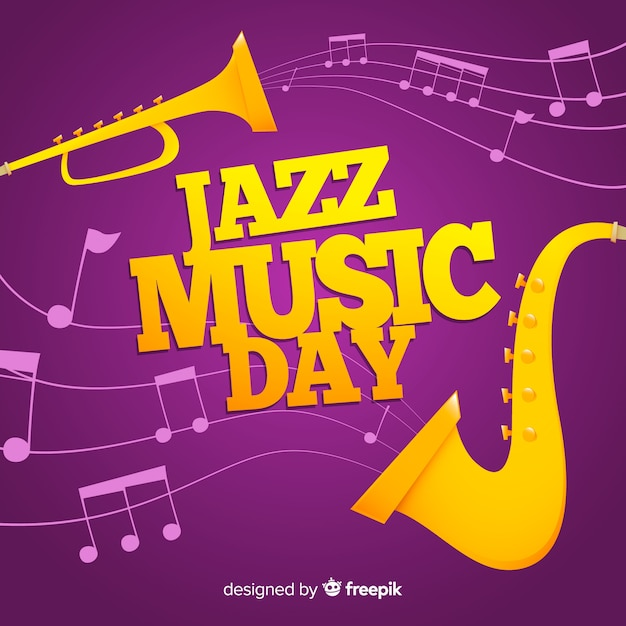 Platte internationale jazz-dag achtergrond Gratis Vector