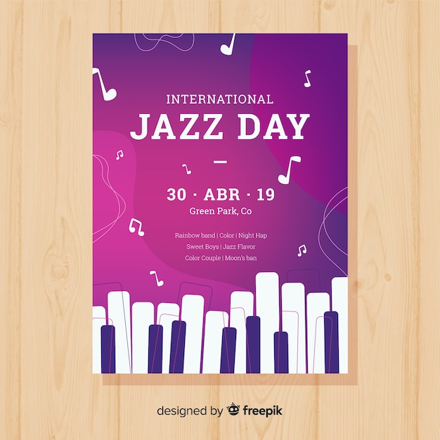 Platte internationale jazz dag poster sjabloon Gratis Vector