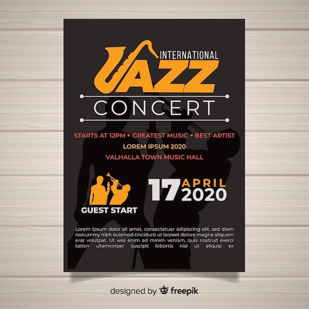 Platte internationale jazz dag poster sjabloon Gratis Vector