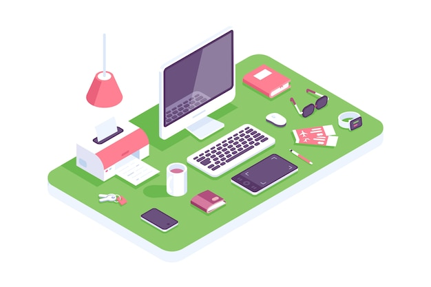 Platte isometrische 3d technologie werkruimte concept vector. laptop, smartphone, tablet, boek, desktopcomputer, koptelefoon, apparaten, printer, fauteuilset. werkplek thuis, ontwerpers, it, kantoor. huis Premium Vector