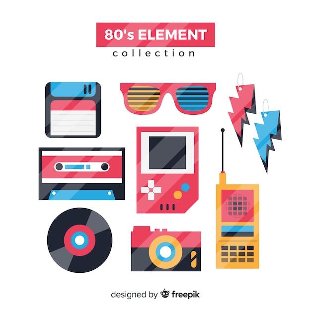 Platte jaren tachtig element collectie Gratis Vector