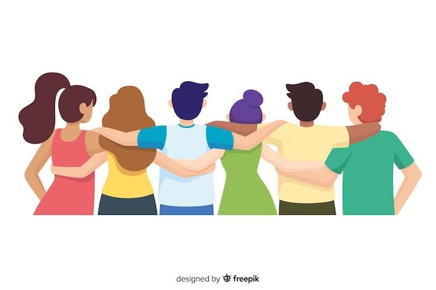 Platte jeugdmensen die samen knuffelen Gratis Vector