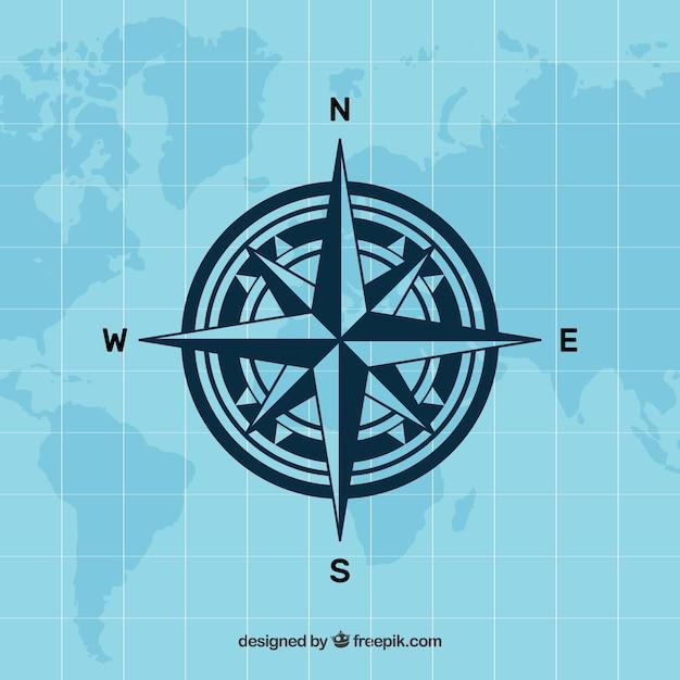 Platte kaart kompas achtergrond Gratis Vector