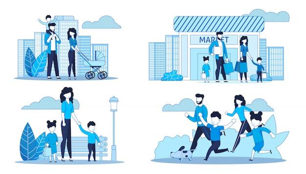 Platte kaarten instellen met familie tijd doorbrengen samen Premium Vector