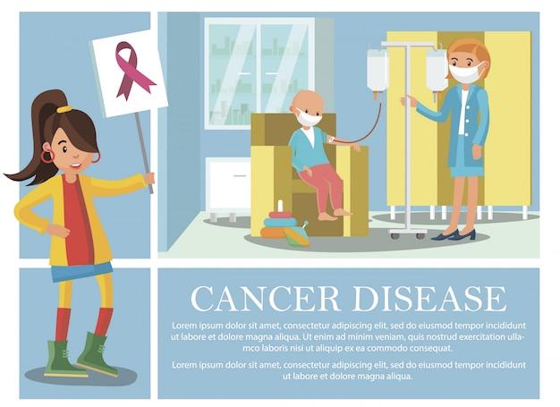 Platte kanker ziektesamenstelling met kind dat oncologische ziekte medische behandeling ontvangt en het teken van de jonge vrouw met roze lint Gratis Vector