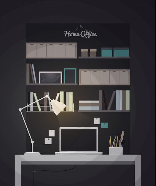 Platte kantoor aan huis interieur illustratie met bureaublad Premium Vector