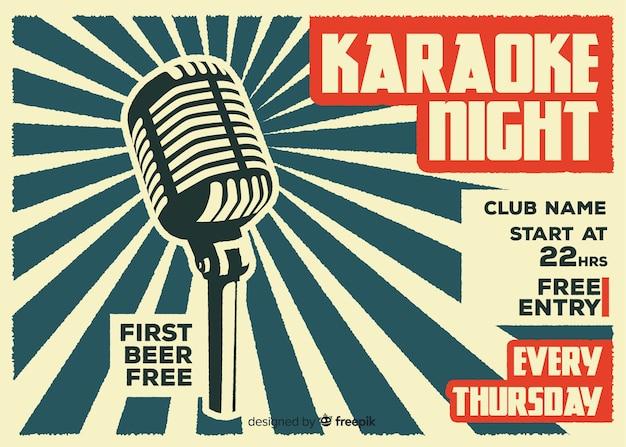 Platte karaoke nacht banner sjabloon Gratis Vector