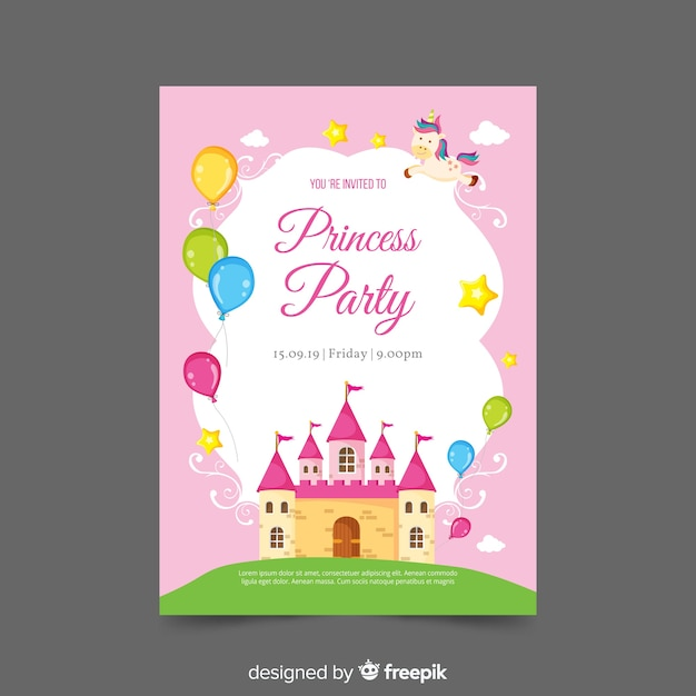 Platte kasteel prinses partij uitnodiging sjabloon Gratis Vector