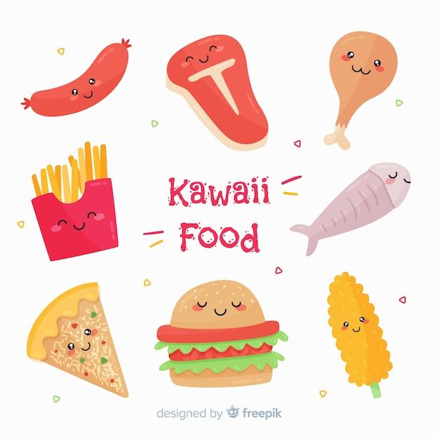 Platte kawaii-voedselverzameling Gratis Vector