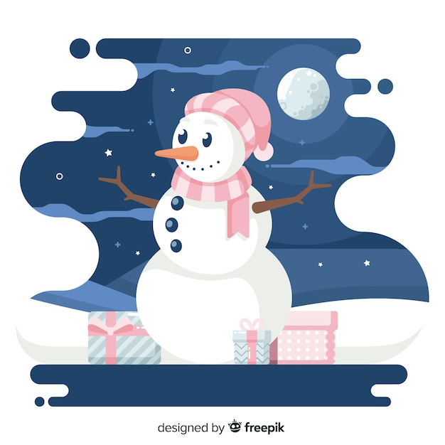 Platte kerst achtergrond en sneeuwpop in de nacht Gratis Vector